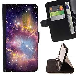 Devil Case- Estilo PU billetera de cuero del soporte del tir¨®n [solapa de cierre] Cubierta FOR Samsung Galaxy G360 G3608 G3606- Space Stars