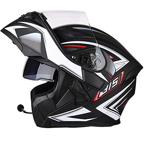 Bluetooth Klapphelm Integralhelm Motorrad Helm ECE Zertifizierter Motorradhelm mit LED Lichter & Antibeschlag…