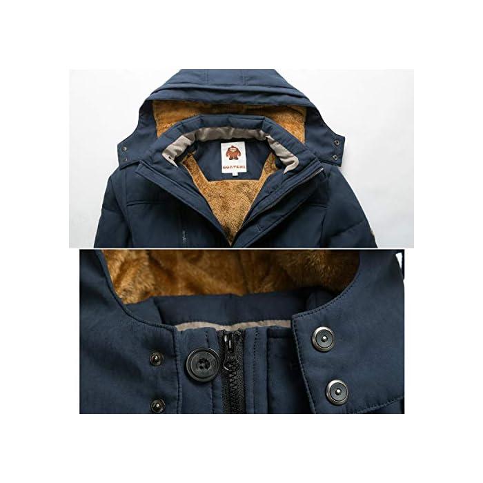 51cz9HoyKaL Esta chaqueta cálida está hecha de tela suave y tiene puños acanalados para un ajuste cómodo alrededor de la muñeca, contra el viento frío. Chaqueta parka con capucha hombre,Forro de lana y capucha desmontable. Material: 95% Poliéster + 5% Nylon