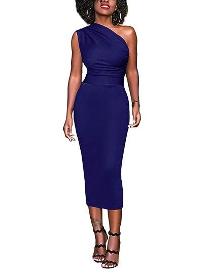 a3104cd28751 Dreamparis Women s Sexy One Shoulder Bodycon Dress Sleeveless Midi Formal  Cocktail Clubwear Medium Blue