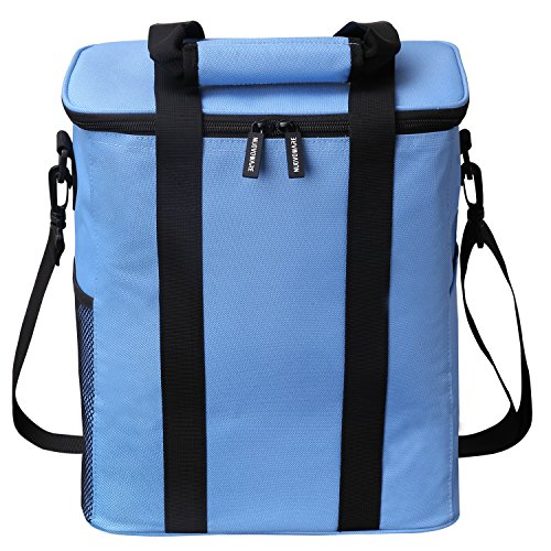 Insulated Picnic Bag, Nuovoware 20L Large Capacity Foldable Outdoor Travel Picnic Box Soft Cooler Tote Multi-purpose Grocery Container with Zip Closure for Camping, Traveling, Hiking, Sports, Blue