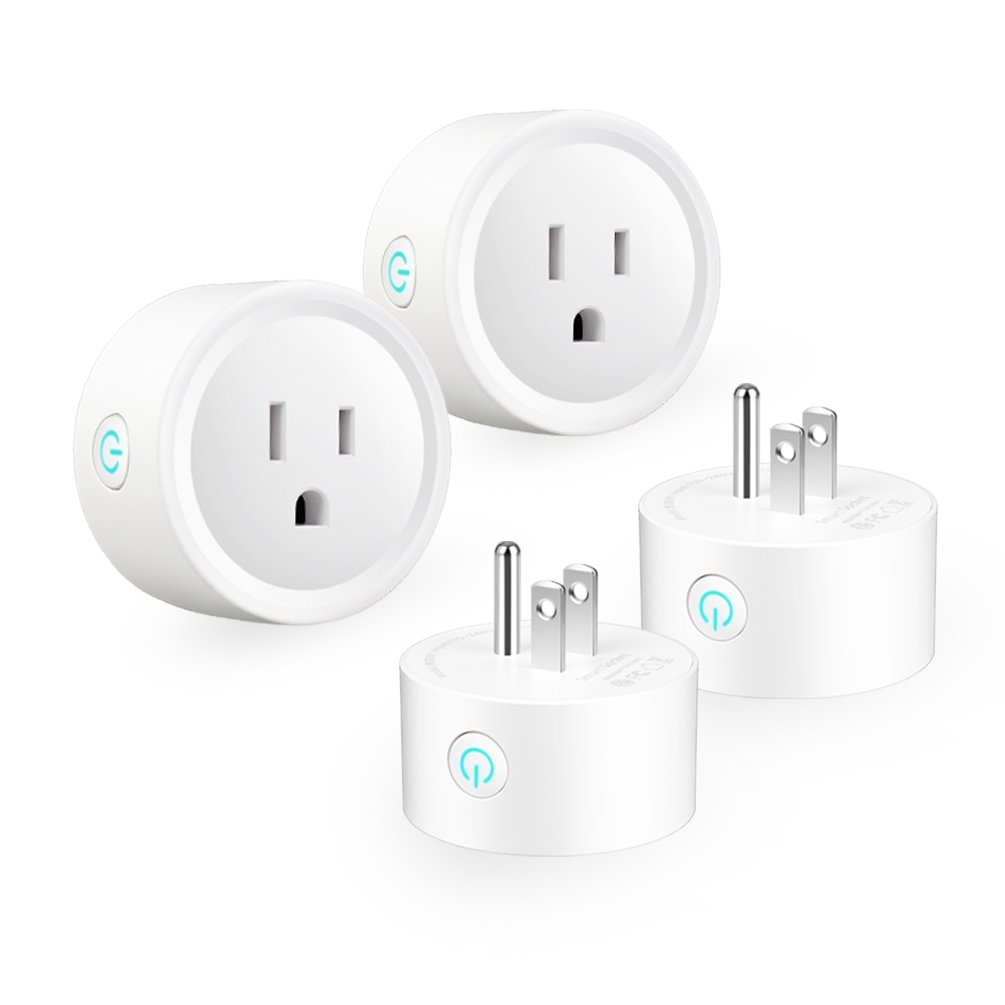 Smart Plug 4 Packs, WiFi Smart Outlets Work with Alexa Echo, Google Assistant, Remote Control Mini Wireless Smart Socket, Voice Control Electrical Devices from Anywhere by Phone, No Hub Required