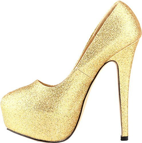 Salabobo Womens Sexy Fashion Night Club Platform Heighten High Heel Closed Toe Slip ON PU Pumps Gitter-Gold