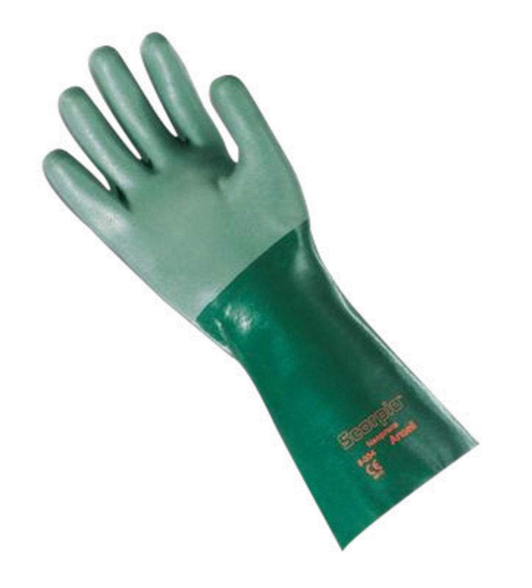 Ansell Size 9 Green Scorpio Interlock Knit Lined 30 mil Neoprene - Pack of 12