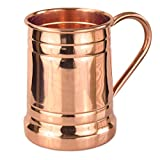 copper beer stein - PURE COPPER BEER MUG – Unique Tankard Look - Handmade 100% Pure Copper Beer Stein - Solid Copper,No Lining - Polished Copper Inside & Out - 18 oz – Ice Cold Beer, Moscow Mules, & Recipes E-book