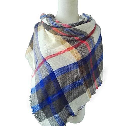 Dora Bridal Lady Women Blanket Oversized Tartan Scarf Wrap Shawl Plaid Cozy Checked Pashmina (One Size, Blue)