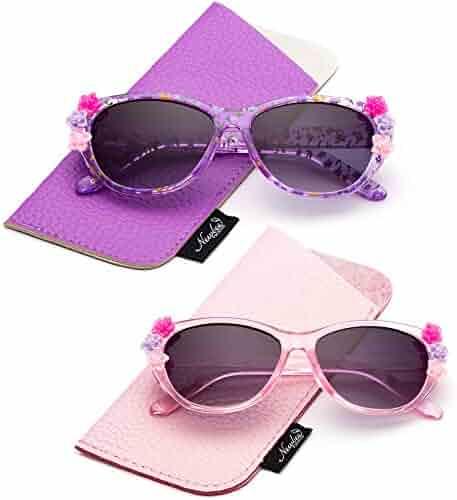 6a0e986e49 Newbee Fashion- Kids Girls Toddlers Fashion Sunglasses Cateye Cute  Sunglasses with Flowers UV Protection w
