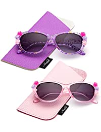 f0645a23632 Newbee Fashion- Kids Girls Toddlers Fashion Sunglasses Cateye Cute  Sunglasses with Flowers UV Protection w
