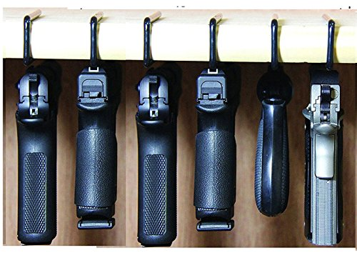 Safety Solutions For Gun Storage Pack of 6 Original Pistol Handgun Hangers (Hand made in USA) (6 hangers) ()