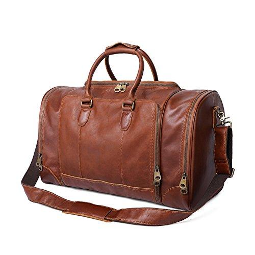 Men's Genuine Leather High capacity Weekender Travel Duffel luggage Bag (Brown)