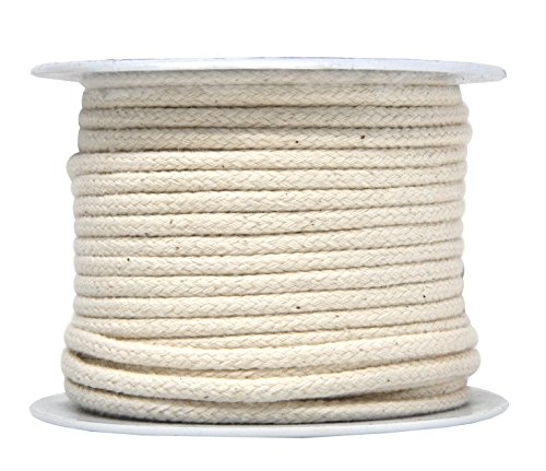 Mandala Crafts Soft Drawstring Replacement Rope Upholstery Crochet Macramé Cotton Welt Trim Piping Cord (Natural, 4mm)