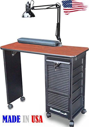 C119-DLX Manicure Nail Table Lockable cabinet w/Cherry La...