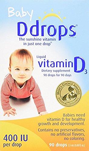 Baby D Drops Liquid Vitamin D3, 400 iu per Drop, 0.08 oz per Box (8 Pack) by Ddrops