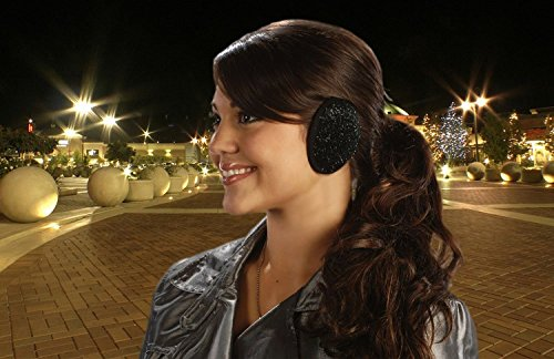 Ear Mitts Bandless Ear Muffs For Women, Black Sparkle Ear Warmers, Small by Ear Mitts (Image #5)