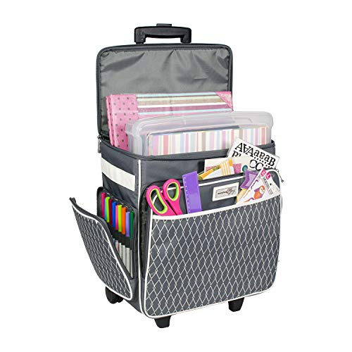 - Everything Mary Grey & White Rolling Scrapbook Storage Tote - Scrapbooking Storage Case for Rings, Paper, Binder, Crafts, Beads, Paper, Scissors - Telescoping Handle with Dual Wheels - Craft Case