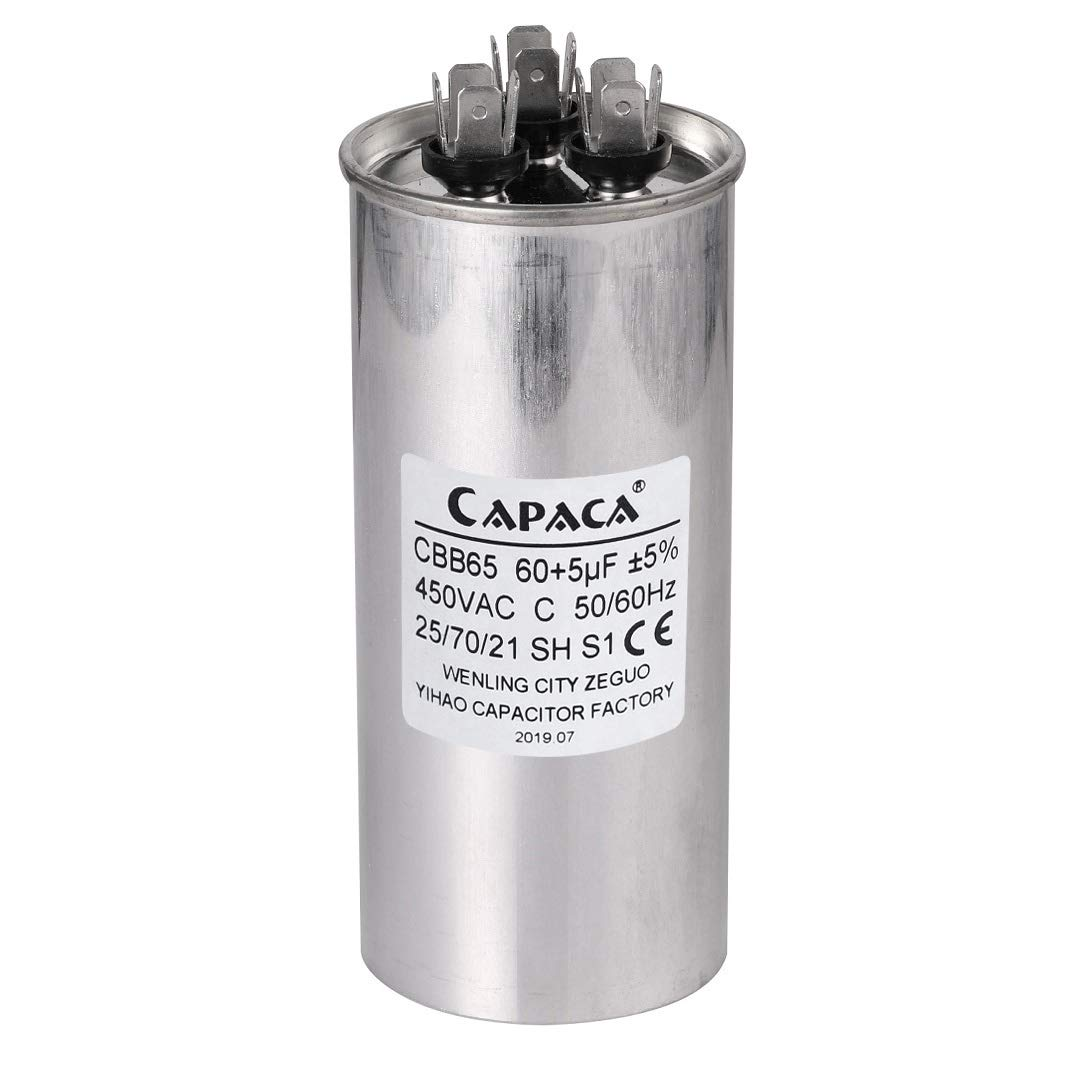 60 5 Mfd Uf Air Conditioner Capacitor Round Aluminum Electrolytic Dual Motor Run Capacitor 450v Ac Withstand Voltage For Condenser Straight Cool Or Heat Pump Of Air Conditioner Amazon Com Industrial Scientific