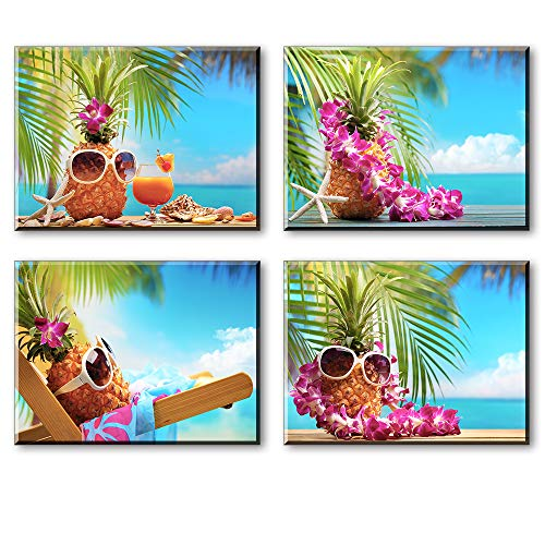 Beach Wall Art for Bedroom, Lovely Tropical Sunglasses Pineapples with Wreath Canvas Prints Decor, Cute Hawaii Leisure Time Flower Picture (Waterproof Artwork, Bracket Mounted Ready Hanging, 1