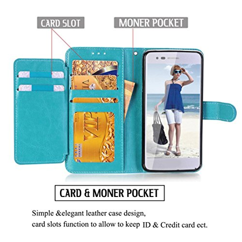 Nesee Wallet Flip Case Cover With Card Slots And Stand for LG Fortune/Phoenix 3 (Mint Green) ()