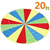 Sonyabecca Parachute, Play Parachute 20ft with 16 Handles for Kids Cooperation Group Play
