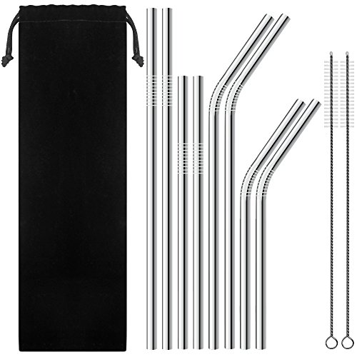 SENHAI Set of 8 Stainless Steel Straws for 30oz 20oz Tumblers Cups Mugs, Metal Drinking Straw with Cleaning Brush for 30 20 ounce Yeti Rambler Rtic Ozark (Stainless Straws)