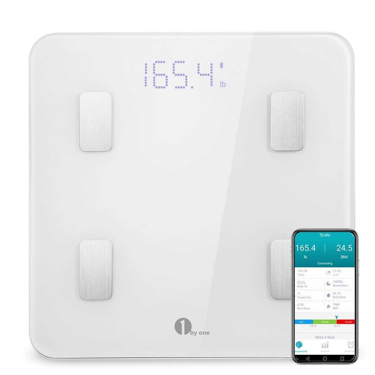 1byone Body Fat Scale with iOS and Android App Smart Wireless Digital Bathroom Scale for Body Weight, Body Fat, Water, Muscle Mass, BMI, BMR, Bone Mass and Visceral Fat, White