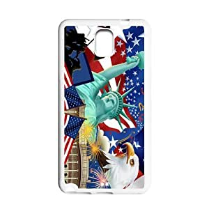 Generic Cell Phone Case For Samsung Galaxy Note 3 case Diy Customized USA American Flag Design Black White Plastic Protective Shell Personalized Pattern Skin