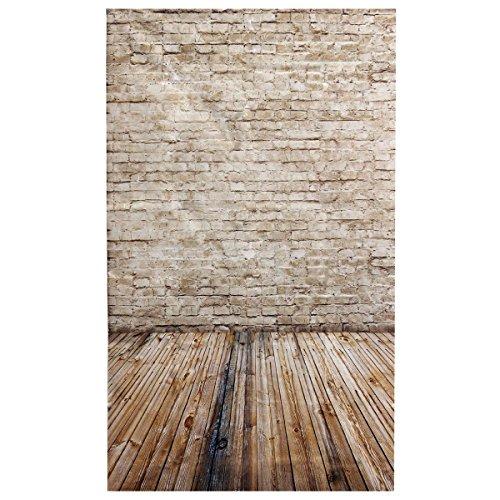 SODIAL 3x5FT Brick Wall Photography Backdrop Photo Wooden Floor Studio Background Props Light Grey - Salamanca Three Light