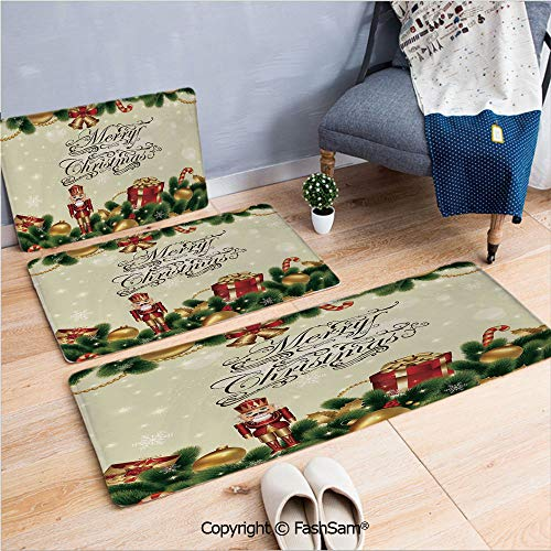 (FashSam 3 Piece Flannel Doormat Noel Ornaments with Birch Branch Cute Ribbons Bells Candy Canes Art Image for Kitchen Rugs Carpet(W15.7xL23.6 by W19.6xL31.5 by W19.6xL59) )