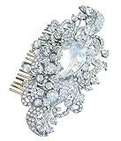 Sindary Wedding Headpiece 4.53 Inch Silver-tone Clear Rhinestone Crystal Flower Hair Comb
