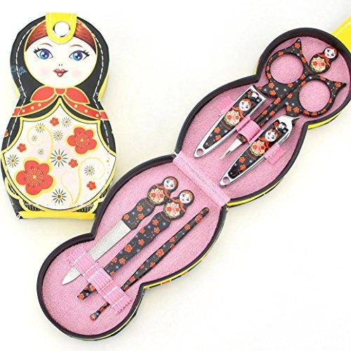 Ecurson 6 Pcs Set Russian Doll Nail Care Clipper Manicure Pedicure Nail File Eyebrow Clip Ear Spoon Set (Black)