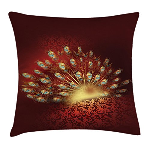 Peacock Throw Pillow Cushion Cover by Ambesonne, Magical Peacock Feathers against A Dark Baroque Background Patterns Art Print, Decorative Square Accent Pillow Case, 18 X18 Inches, Golden and Red (And Gold Accent Red Pillows)