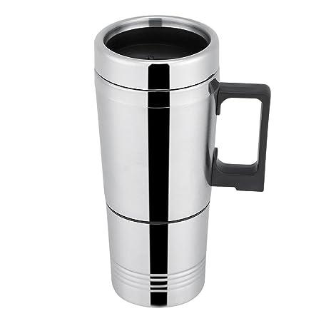 Termo Taza Electrico Calentador para Coche,Termo de café para llevar, Taza térmica de acero inoxidable para viaje 12V/24V (24V)