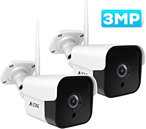 AZONE Outdoor Security Camera - 3MP Bullet Door Camera IP66 Colorful Night Vision Home Surveillance System, Work with Alexa, Two-Way Audio, Motion Detector, Alarm/Recording, (Set of 2)