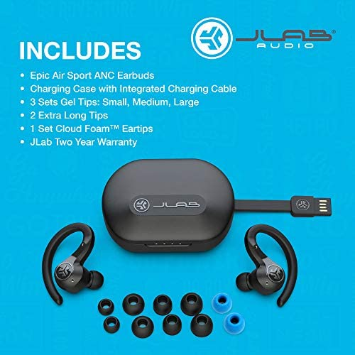 JLab Audio Epic Air Sport ANC True Wireless Bluetooth 5 Earbuds | Headphones for Working Out | IP66 Sweatproof | 15-Hour Battery Life, 55-Hour Charging Case | Music Controls | 3 EQ Sound Settings