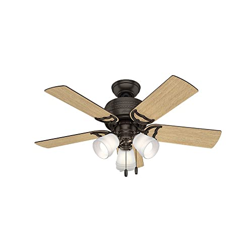 Hunter Indoor Ceiling Fan, with pull chain control – Prim 42 inch, Premier Bronze, 51105