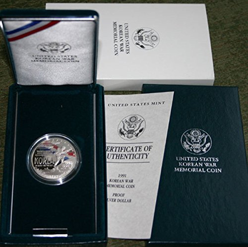 1991 P 1991 United States Korean War Memorial SILVER Proof Dollar Coin Original Box + COA $1 PR-69 US Mint