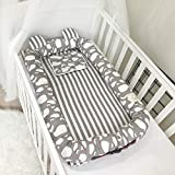 Baby Travel Crib, Grey Whale Printed 100% Cotton Newborn Lounger with Bumper, Breathable and Hypoallergenic Sleep Nest Newborn Lounger Pillow for Bedroom/Travel, 35x20 Inch