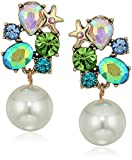 Betsey Johnson Women's Crabby Couture Stone and Pearl Drop Earrings, Multi, One Size