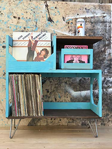 Vinyl Record Storage End Table // Handmade in California // Solid wood fully assembled ()
