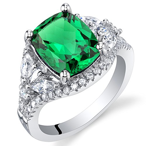 4 Carat Simulated Emerald Sterling Silver Legacy Ring Size 7 ()