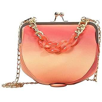 TOOGOO Women'S Pu Leather Crossbody Korean Version Of the Wild Chain Ladies Shoulder Portable Clip Bag Deep Orange