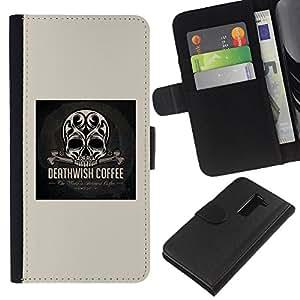 Be-Star la tarjeta de Crédito Slots PU Funda de cuero Monedero caso cubierta de piel Para LG G2 D800 ( Skull Coffee Death Wish Poster Black )