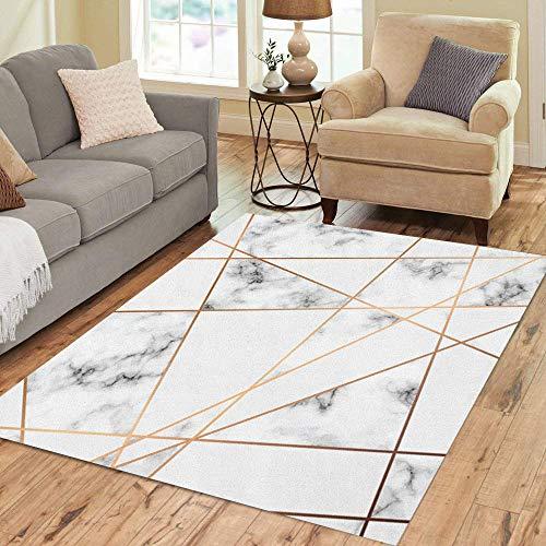 - Pinbeam Area Rug Marble Golden Geometric Lines Black and White Marbling Home Decor Floor Rug 3' x 5' Carpet