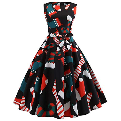 Vintage Print Long Sleeve Dress for Women Christmas Belt Evening Party Big Fit Swing Dresses