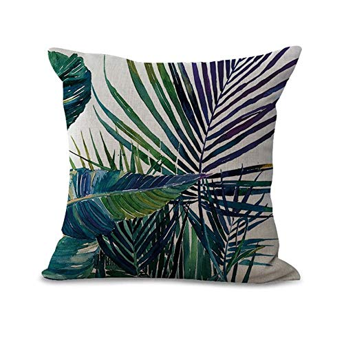 (♥Karoleda♥ Tree Leaves Pillow Covers Cotton Linen Tropical Palm Leaves Cushion Covers Square Decorative Pillowcases)