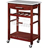 Granite Top Brown Kitchen Island Cart with 4-Bottle Wine Storage Rack