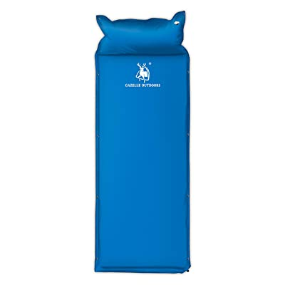 YHKQS-KQS Tente extérieure Camping Double Thickened Bleu Automatique Coussins Gonflables / Coussin de Couchage Avec Oreiller (Concaténation) 76 * 25 * 1 In