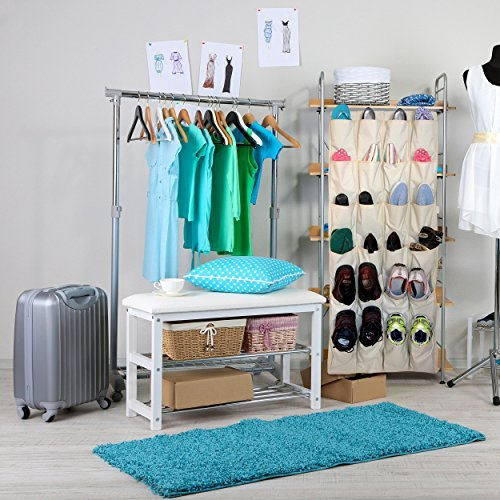 Over the door shoe rack and closet organizer system with for Extra closet storage