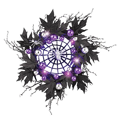 Lighted Purple Spiderweb Wreath (Halloween Wreaths)