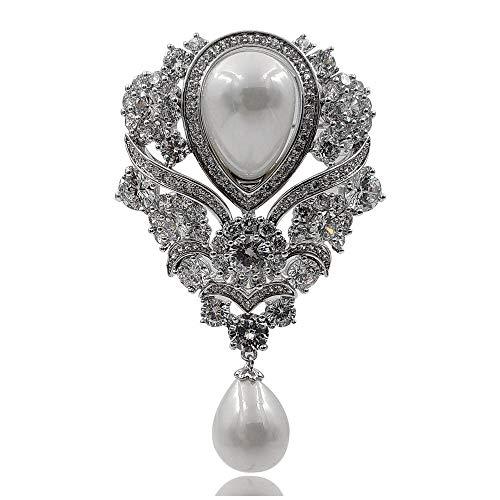 - DREAMLANDSALES Victorian Vintage Silver Tone Ribbon Floral Pearl Drop Wedding Brooch Bridal Pin